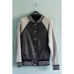 Forever 21 | Faux Leather Bomber Varsity Jacket